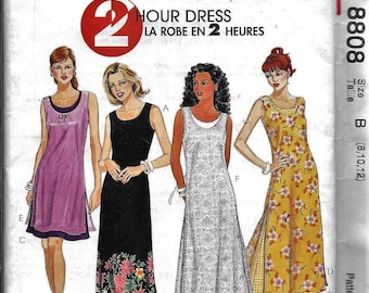 McCall's 8808 2 Hour DRESS Summer Sleeveless Scoop Neck Sewing Pattern UNCUT Size 8, 10, 12