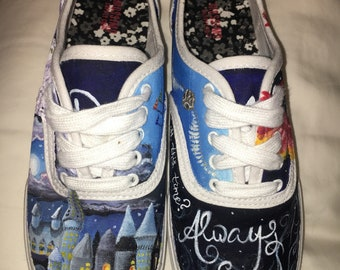 Hand Painted Harry Potter Sneaker Shoes women's size 7