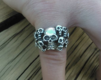 Multi Skull Ring in solid Sterling Silver