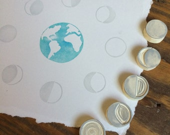Moon Phases Rubber Stamp Set
