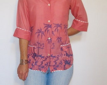 Hawaii Palm Tree Printed Button Blouse