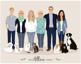 Custom Group Portrait, large family portrait, custom family illustration