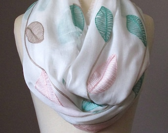 Oversized Infinity Scarf, Floral Scarf, Embroidered White Scarf, Pastel Circle Infinity Scarf, Light scarf, Spring scarf, Leaf scarf