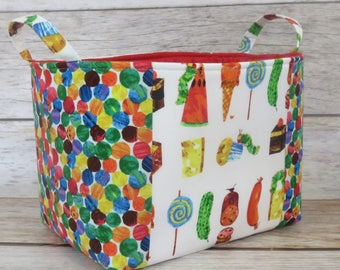 Storage Organization Fabric Basket Container Organizer Bin - Caterpillar Bug - Picnic Treats and Multi Dot Fabrics