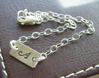 "Custom Initial Bracelet - Personalized Sterling Silver Hand Stamped Charm Jewelry - 1/2"" Bar Bracelet with Optional Birthstone or Pearl"