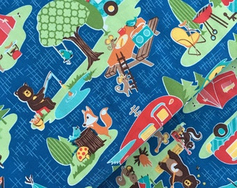 Road Trip Main in Blue Cotton Fabric from the Road Trip Collection by Riley Blake
