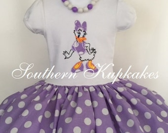 Girls Daisy Duck Dress Disney Inspired Custom Twirl Birthday Boutique Pageant Party All Sizes All Ages Vacation Disneyland World Polka dots