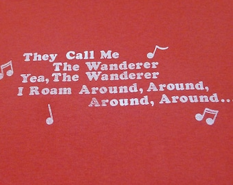 Vintage 80s The Wanderer Song Lyrics by Dion Red T-Shirt Size Large