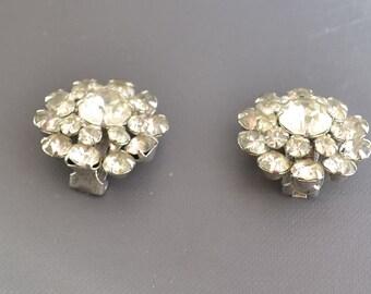 Vintage Kramer  Rhinestone  earrings clip on wedding jewelry