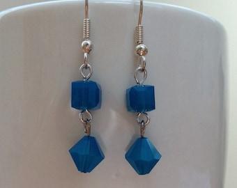 Carribean blue opal bicone and cube swarovski crystal earrings