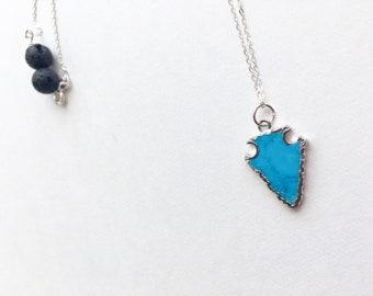 Magnesite Arrow Lava necklace