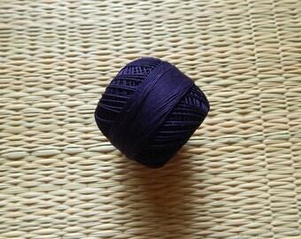 Navy Blue Crochet Yarn, Mercerized Cotton Yarn, Knitting Yarn, Embroidery Yarn, Cotton Crochet Yarn - 120 Yards