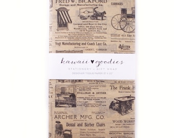 24 sheets of Tissue Paper -  Kraft Newsprint newspaper - 15 x 20 inch 100% recycled Tissue Paper for Packaging and Gift Wrapping