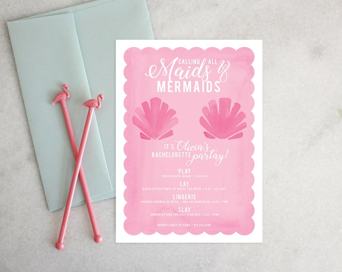 PRINTABLE Bachelorette Party Invitation   Maids & Mermaids