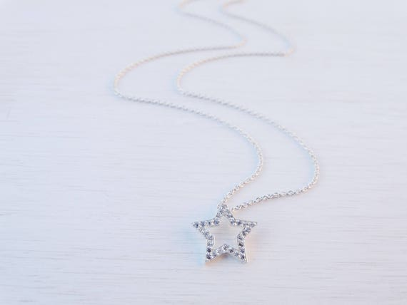 Silver Star Necklace, Cubic Zirconia, Sterling Silver
