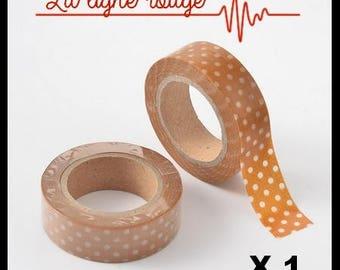 10 meters Masking Tape (N ° 33), caramel colored polka dots, washi tape masking tape, scrapbooking, embellishment
