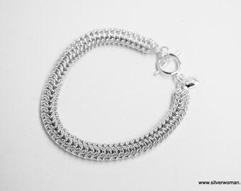 STERLING SILVER Handmade Bracelet in Round Design, solid 925
