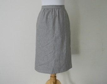 FREE usa SHIPPING vintage pencil skirt ILGWU union made gray midi skirt