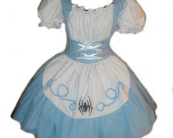 Womens Little Miss Muffet Dress Storybook Fairytale Halloween Costume Custom Made including Plus Size Blue White Black Spider