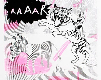 Tiger Screen print - Limited Edition Screen print - Tiger - Fluorescent - Wall Art - Animal Screenprint - Quirky Art - Tiger Raaar