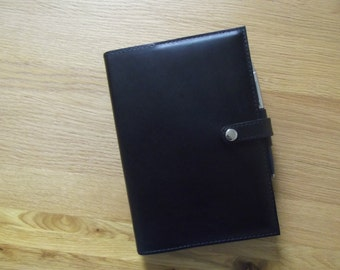 Real Leather Black A5 Notebook Cover/Diary Cover/Journal Cover complete with Notebook.
