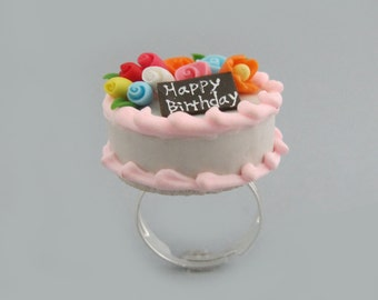 Happy Birthday Cake, Miniature Food Ring - Miniature Food Jewelry, Adjustable Ring, RG-0017