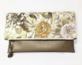 Fold Over Bronze Vegan Leather And Floral Fabric Clutch, Zip Clutch, Metallic Vegan Leather Fabric Purse, Large Clutch, Spring Purse