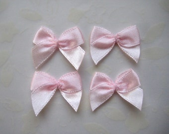 "1"" Pink Satin Ribbon Bow Appliques for Wedding Favors, Crafting, Doll shoes, Sewing, Invitation Cards, 3/8"" Ribbon Wide, 32 or 100 pieces"