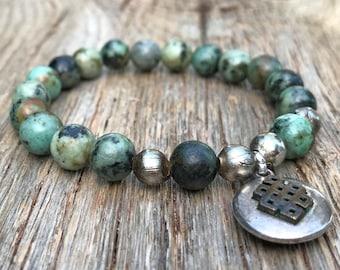African turquoise bracelet/boho bracelet/stretch bracelet/woman's bracelet/stackable bracelet boho jewelry