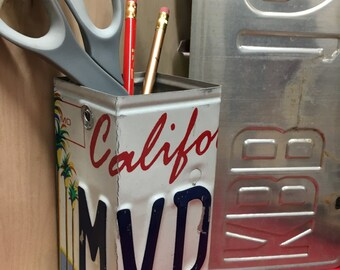 Unique pencil holder, pencil box, brush/tool holder, license plate art