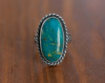Kingman Turquoise Ring, Sterling Silver Ring - Size US 7