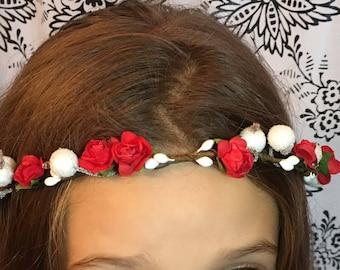 Red /white flower girl crown, bridesmaid hair accessories, wedding hair piece, bridal head band, childrens alice band