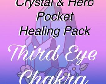 Third Eye Healing & Balancing Pocket Healing Pack of Herbs and Crystals
