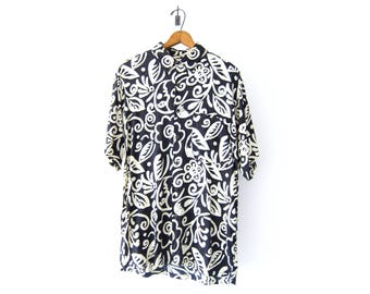 50% of Proceeds go to Planned Parenthood! Vintage Black and White Pierre Cardin Hawaiian Shirt, Floral Shirt, Rayon, Short-Sleeve 90's Shirt