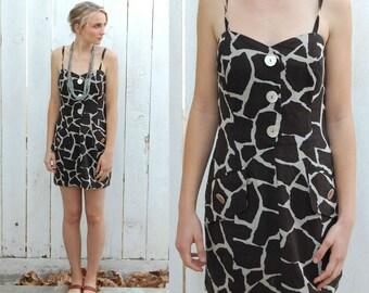 Zang Toi Vintage Giraffe Print Dress 90's 100% Cotton Slip Spaghetti Strap