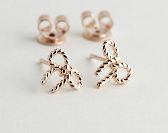 Rose Gold Plating Bowtie, Sterling Silver Base, Minimalist Earrings, Petite Studs, Rose Gold Earrings, Dainty Earrings