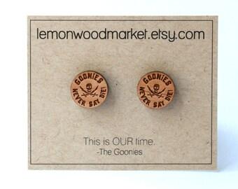 Goonies Earrings - alder laser cut wood earrings