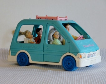Fisher Price Family Van and Family Fisher Price Blue Hatchback Car with Family of Four 1993