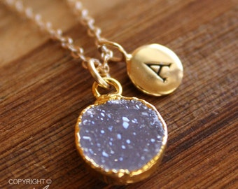 Gold Light Purple Druzy and Hand Stamped Initial Charm Necklace - Personalized Necklace - Mauve