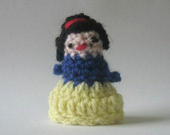 nutka_art handmade  crochet small puppet finger  marionette princess Snow White  toys 6 cm 2,4 inch