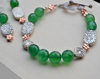 GREEN AVENTURINE Genuine Gemstone and Silver and Copper Ornate Metal Accents