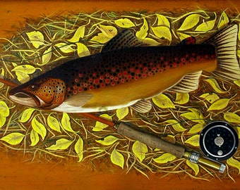 Brown Trout with Fly Rod, brown trout, trout paintings, trout portraits, fly fishing, trout and fly rod, on CANVAS PRINT