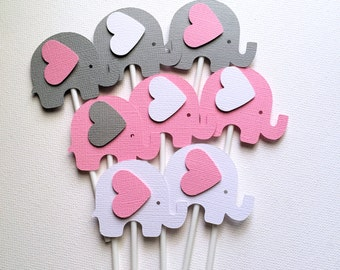 Elephant Cupcake Toppers in Pink White & Gray. Baby shower, first birthday, party favors, treats. Baby girl, gender reveal. Cupcake pick.