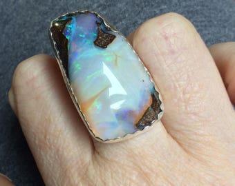 Opal Ring - Australian Opal Ring - Boho Ring - Boho Chic - Boulder Opal Ring - OOAK Ring - Statement Ring