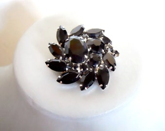 Black rhinestone brooch vintage pin  with silver tone setting circa 1950's signed costume jewerly