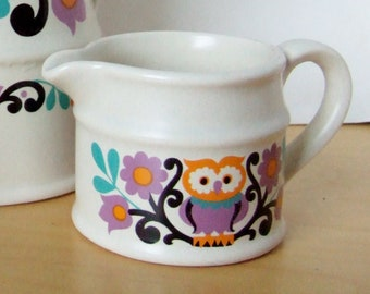 1970s Owl & Flowers Milk Jug by Sadler - Colourful Mod Folk Art Design in Gorgeous Colours