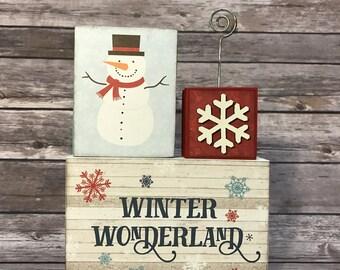 Winter Wonderland 3-Block Photo Holder with Snowflake