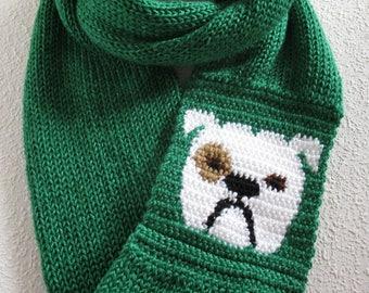 Bulldog Infinity scarf. Emerald green knit scarf with a white English bulldog. Long cowl scarf. Bulldog gift