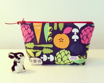 Cosmetic bag Zipper Pouch with Vegetable Print fabric