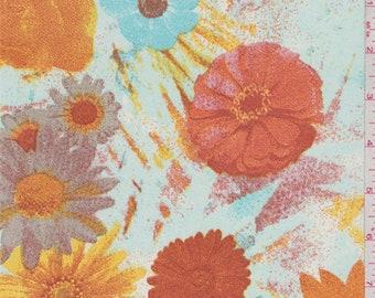 Pale Blue/Orange Floral Bloom Chiffon, Fabric By The Yard